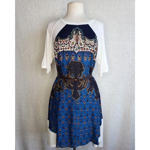 Anthropologie Boho Geometric Print Shirt Dress